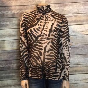 Worth New York Silk Blouse Animal Tiger Print 8